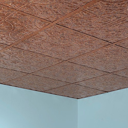 Fasade Easy Installation Traditional 2 Cracked Copper Lay In Ceiling Tile / Ceiling Panel (2' x 2' Tile) by FASÄDE (Image #2)