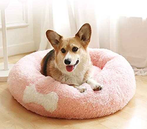 Affetto Original Cat and Dog Bed Luxury Faux Fur Donut Cuddler Beds Self-Warming Indoor Round Pillow with Cover for Pet, Improved Sleep, Machine Washable Pink XL