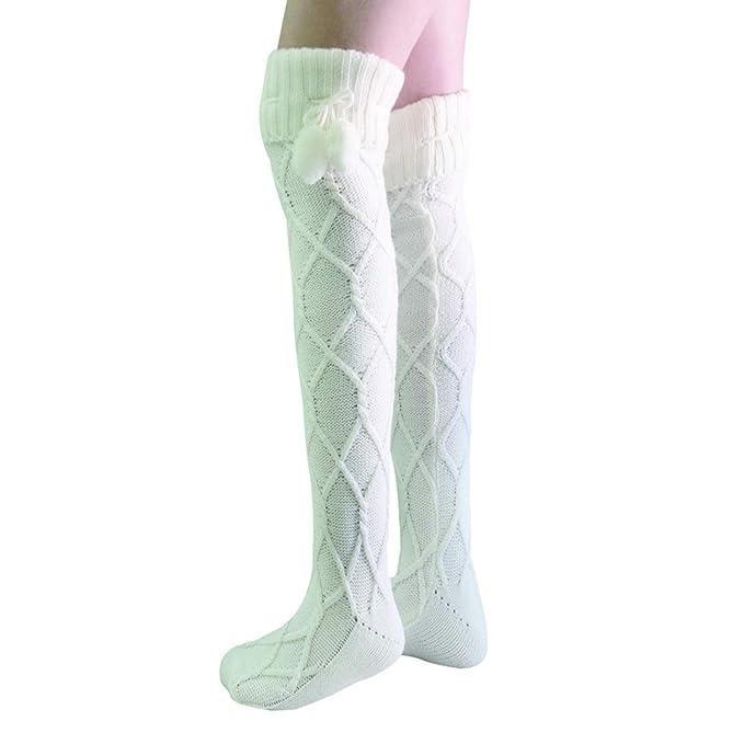 ae54b6df4c0 VSTON Women s Knee High Knit Long Boot Socks Winter Leg Warm Fashion with  Hair Ball Socks