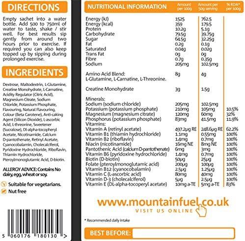 Mountain Fuel Xtreme Energy Fuel Blackcurrant Beutel (10 bis 15 Servierbeutel)