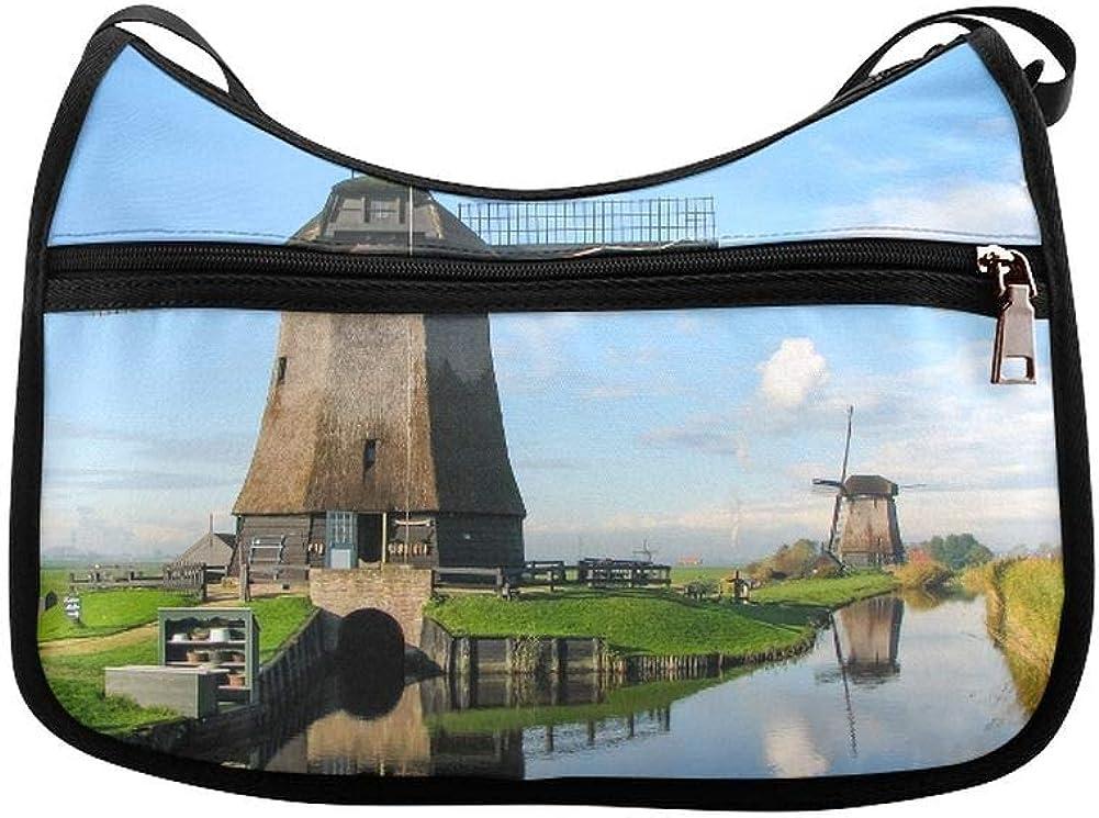 Dutch Windmills Along A Canal Messenger Bag Crossbody Bag Large Durable Shoulder School Or Business Bag Oxford Fabric For Mens Womens