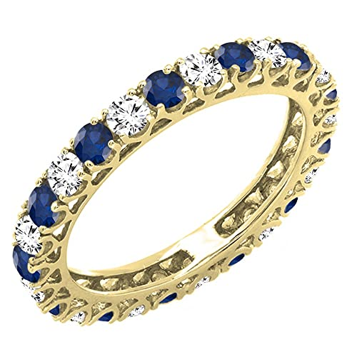 DazzlingRock Collection 14K Oro Diamante y Azul Zafiro eternidad Aniversario de Bodas Anillo con Banda 5: Amazon.es: Joyería