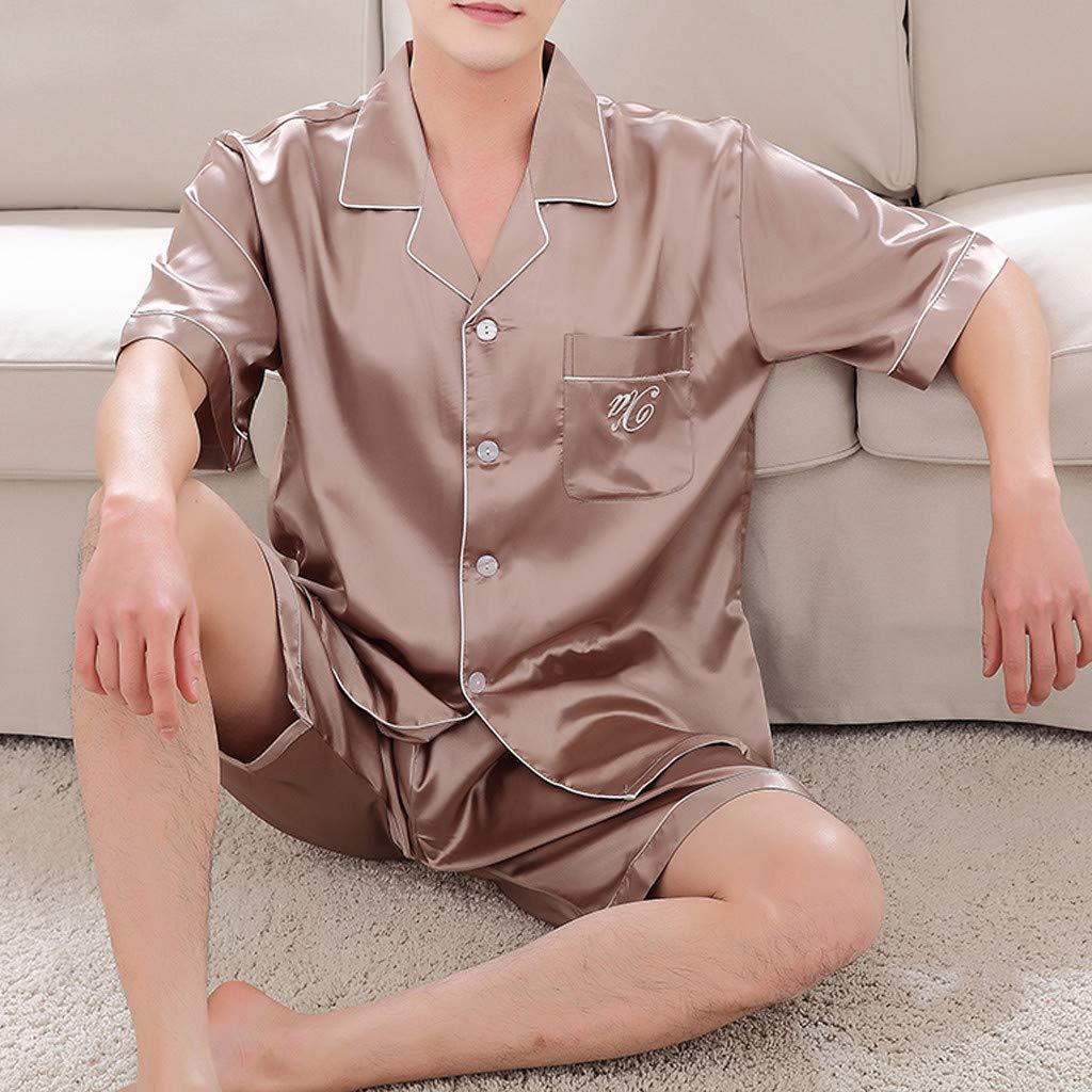 Men Spring Solid Pajama Set Casual Nightwear Short Sleeve Top Blouse and Shorts Set YOcheerful Men Summer Pajama Set