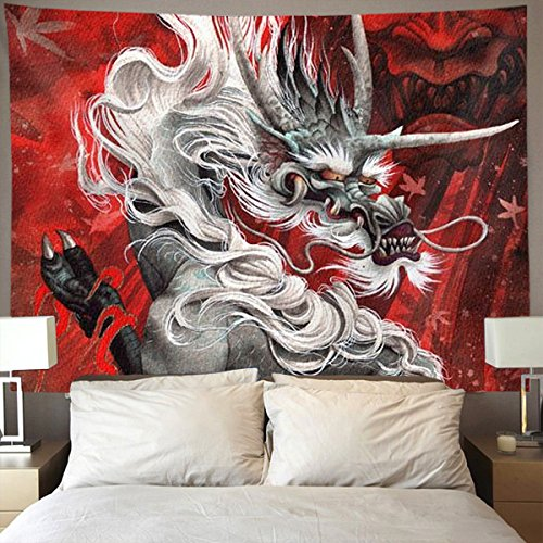 HOMESTORES hot red Fury Chinese Dragon Wall Tapestry Hippie Art Tapestry Wall Hanging Home Decor Extra large tablecloths 60x80 inches For Bedroom Living Room Dorm Room
