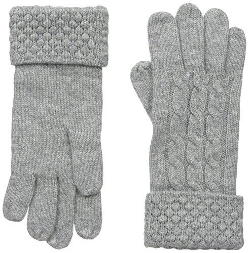 Phenix Cashmere Women's Cashmere Knit Popcorn Stitch Glove, Grey, One Size (Stitch Popcorn)