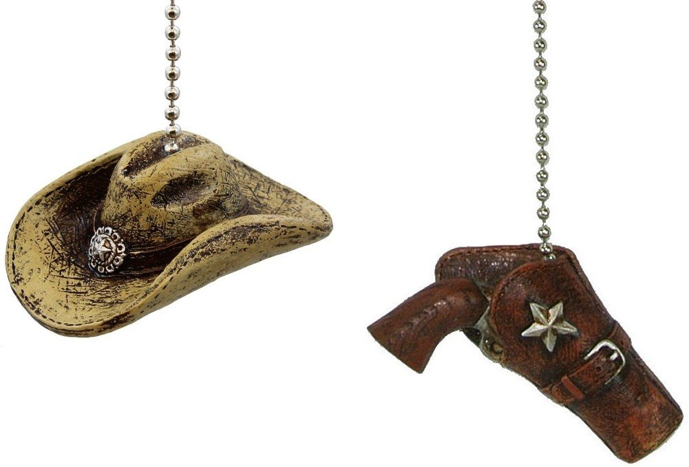 Cowboy Western Theme Ceiling Fan Pull Chain Extender (Set of Two - Cowboy Hat and Western Pistol in Holster)