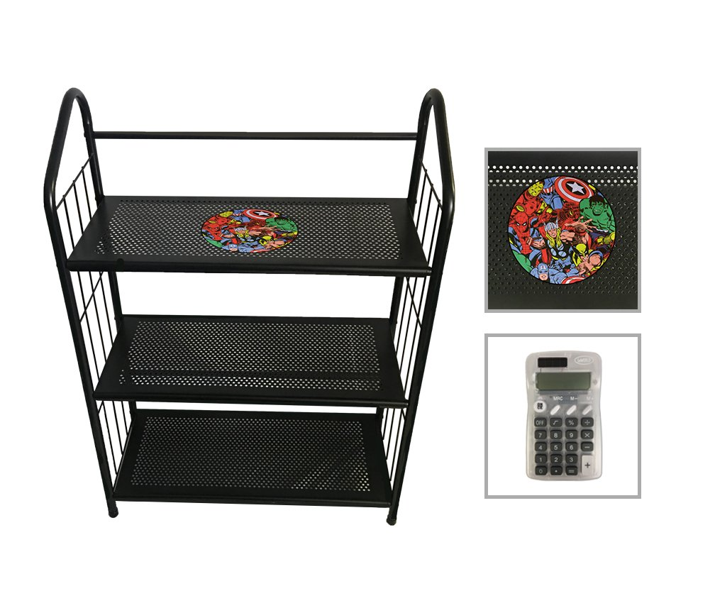3 Tier Black Metal Finish Free Standing Shelf with the Choice of Your Favorite Superhero Theme Logo (Avengers) - FREE Handheld Calculator Included