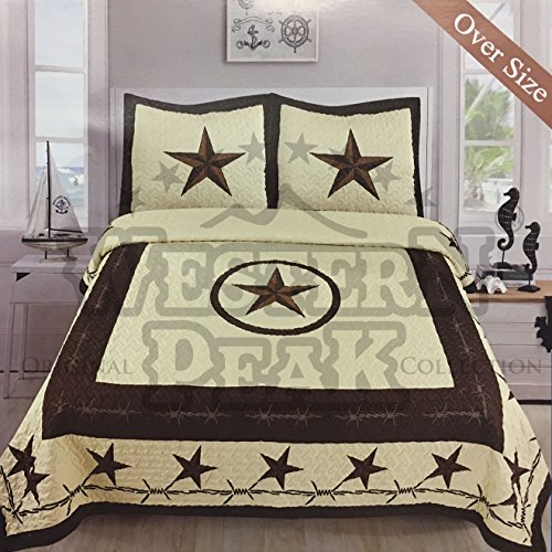 Western Collection 3 Pc Luxury Western Barb Wire Texas Lone Star Horse Shoe Pistol Gun Cabin Lodge Barbed Wire Luxury Quilt Bedspread Oversize Comforter (Queen, Beige Western Star)
