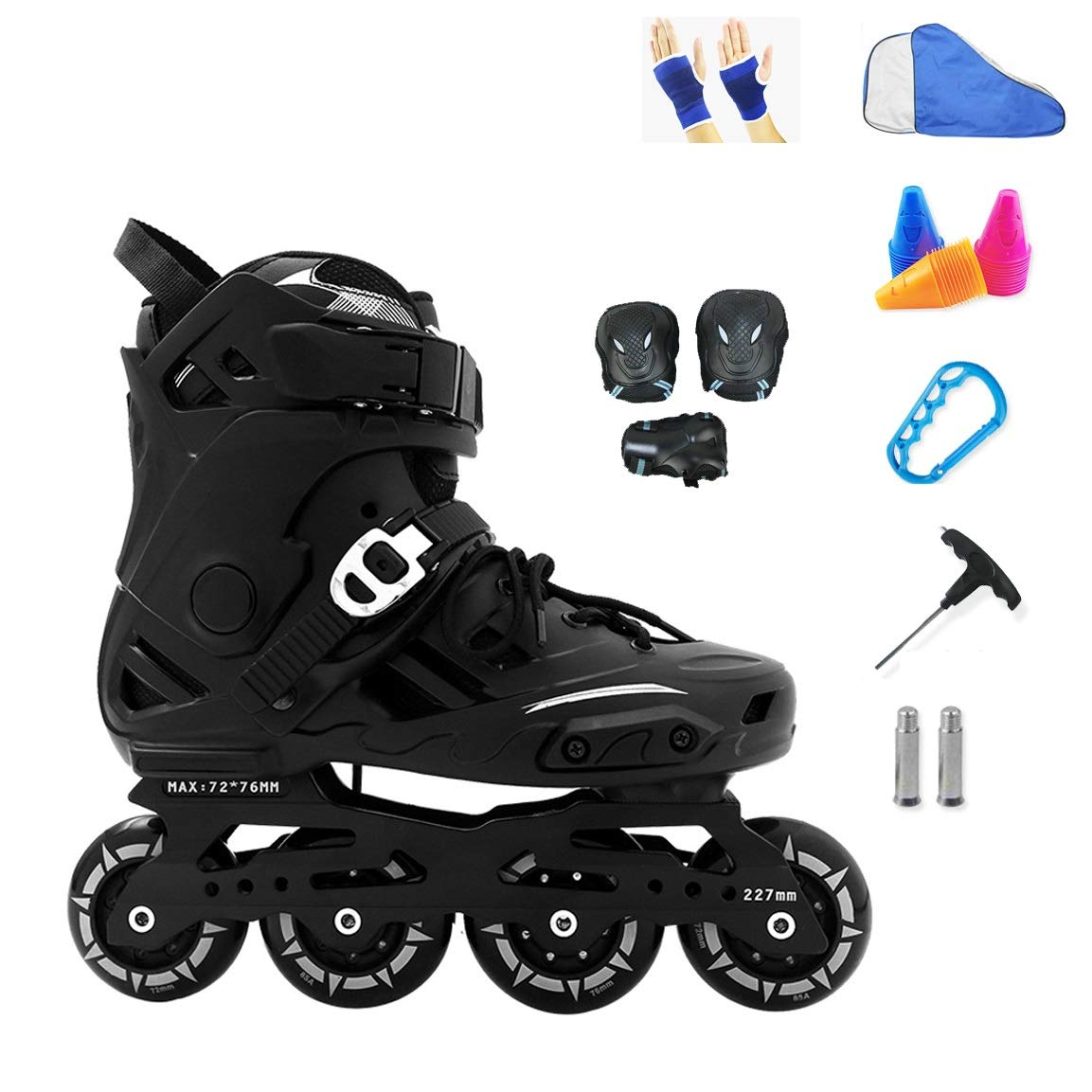YANGXIAOYU Inline Skates, Fixed Nut Buckle Design Inline Skates Set White Black Suitable for Men and Women Boys Girls (Color : Black, Size : 38 EU/6 US/5 UK/24cm JP)