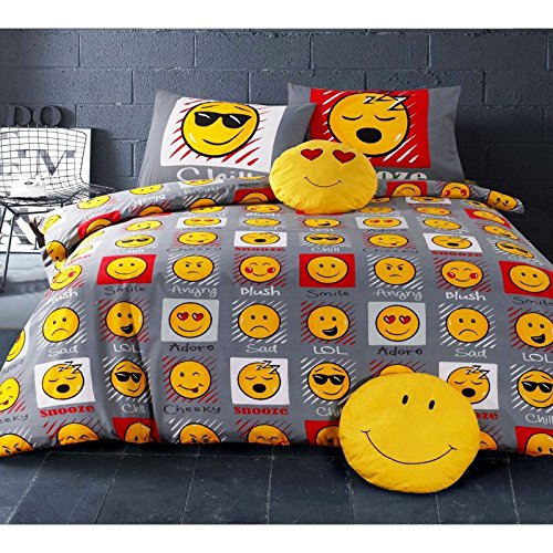 OMG Emoji Expressions Single Twin Duvet Cover and Pillowcase Set