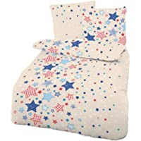 Biber Baby Bettwäsche Sterne Beige Blau 100x135 cm - Kinderbettwäsche