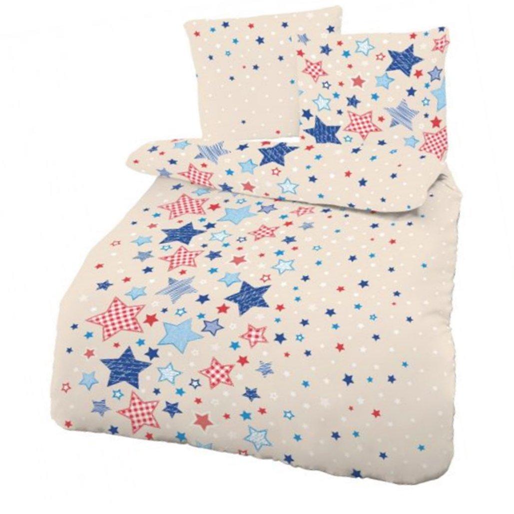 Biber Baby Bettwäsche Sterne Beige Blau 100x135 cm - Kinderbettwäsche CMFashion