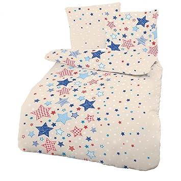 Biber Baby Bettwäsche Sterne Beige Blau 100x135 Cm