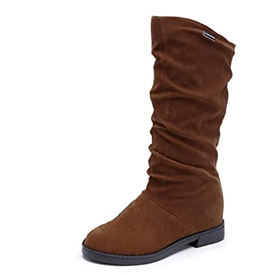 c3b5a28d679a Botte FantaisieZ Bottes d automne d hiver pour Femme Chaussures Plates  EléGantes Bottes de