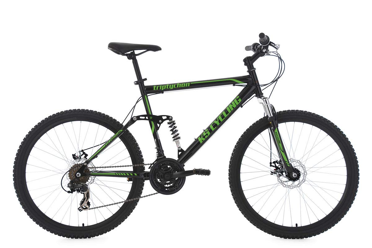 "KS Cycling Herren Mountainbike MTB Fully Triptychon 26"" schwarz-grün RH 51 cm Fahrrad"