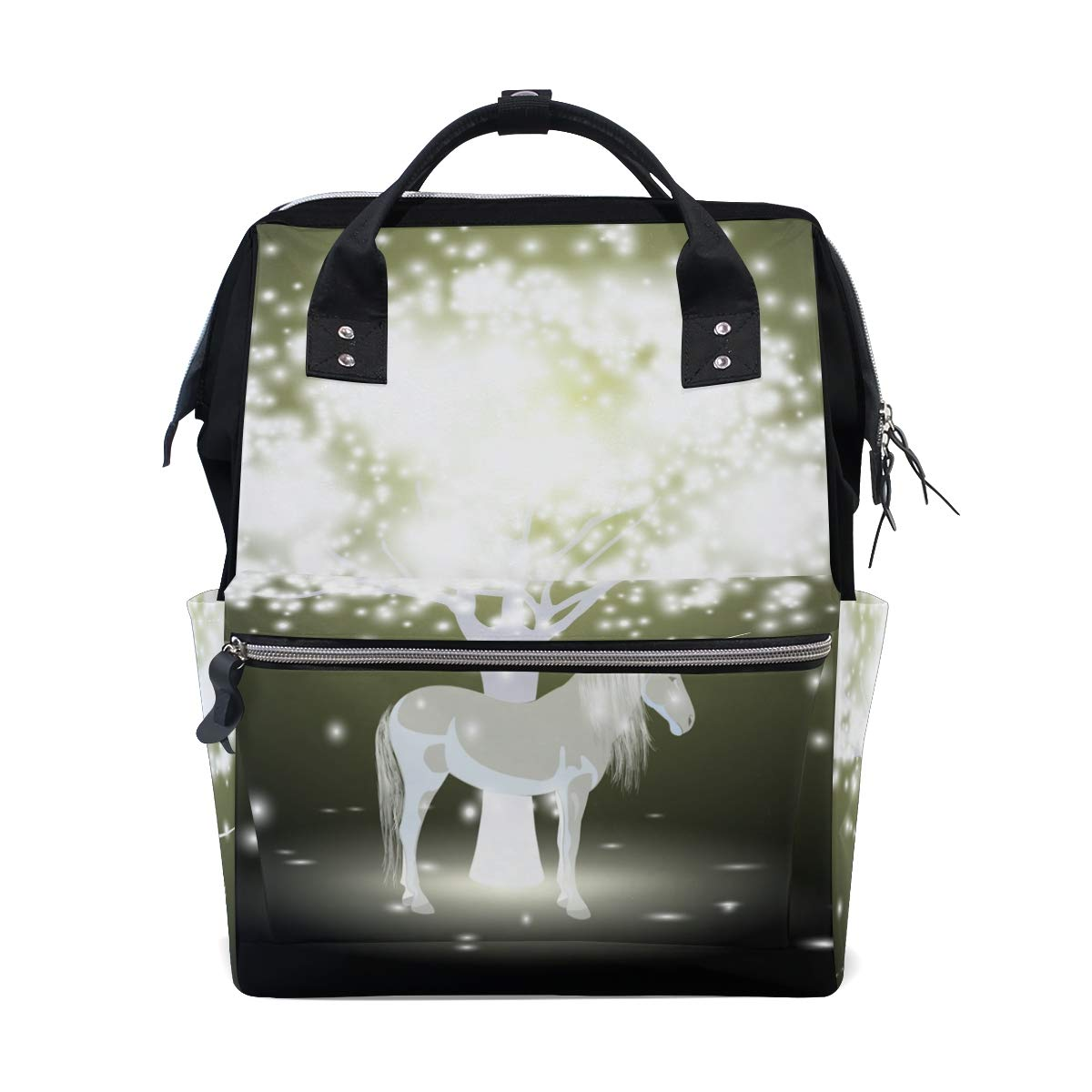 Diaper Bags Backpack Mummy Backpack with Glowing Tree and Unicorn Travel Laptop Daypack