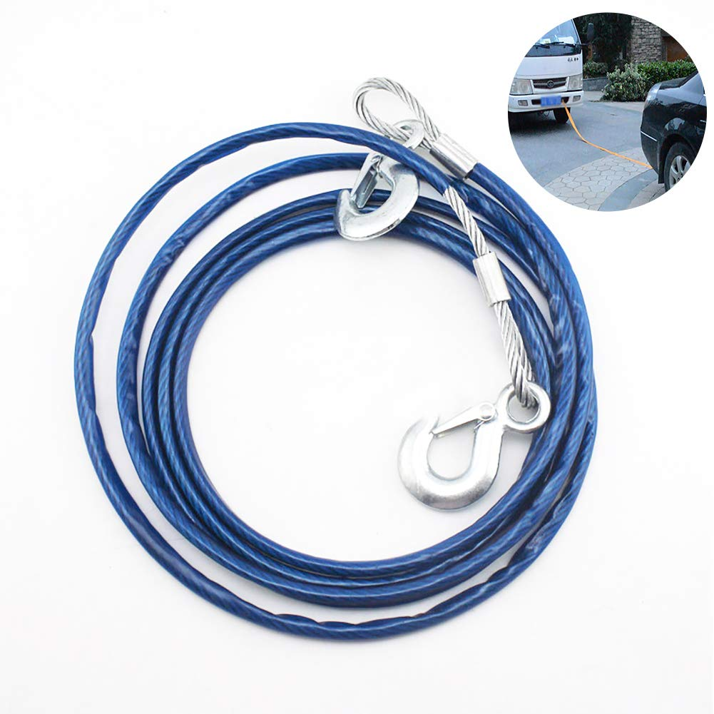 Car Heavy Duty Recovery Tow Straps 17600Ib 8 Ton 5M with 2 Hooks 2 Anti-Proof Gloves AIJIWU Tow Rope