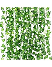 Artificial Ivy Garland, T Tersely 12 Strands (79 Feet) Artificial Ivy Garland Foliage Green Leaves Fake Hanging Vine Plant for Wedding Party Garden Wall Decoration