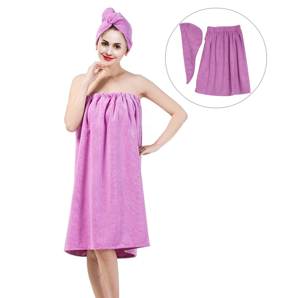 Women's Bath Wrap Set, Adjustable Bathing Bathrobe and Hair Drying Cap Spa Strapless Shower Towel Kits, 35.4 inch/90cm Length (Purple)