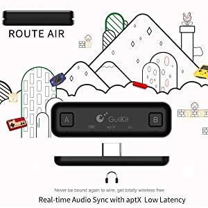Gulikit Route Air Switch Bluetooth Adapter Wireless Audio Transmitter w/APTX Low Latency Compatible with Nintendo Switch & Switch Lite, PS4 PC Laptops for Airpods Bluetooth Headphone Speakers (Black) (Color: Black)