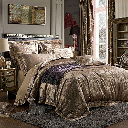 MKXI Luxury Duvet Cover Sateen European Gorgeous Paisley Jacquard Pattern Bedding Set for King Size Down - Gold Comforter Jacquard Woven