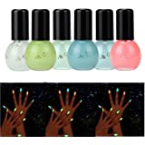 Hot Nail Art! AMA(TM) 6 Candy Colors Fluorescent Neon Luminous Nail Polish Glow In Dark Nails Art Varnish Manicure