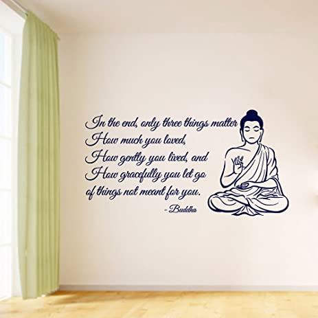 Wall Decal Decor Buddha Wall Decals Quote   Only Three Things Matter Vinyl Decal  Sticker Yoga