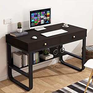 Computer Desk with 2 drawer - Home/Office Workstation with Organize Bookshelf - 2 Tier Modern Industrial Simple Style Sturdy Writing Table for Bedroom - Waterpoof Maple & Metal steel frame Combine (A)