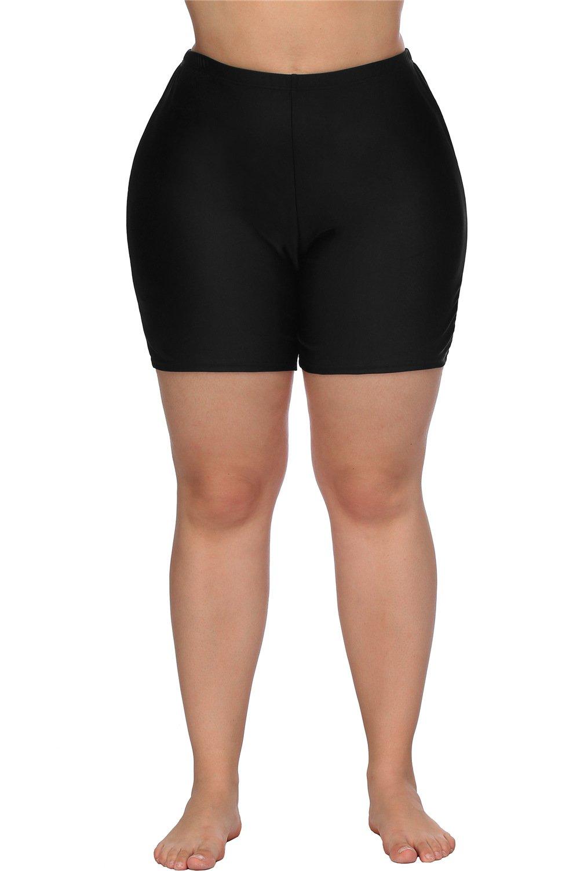 anfilia Women Plus Size Swim Sport Shorts Tankini Swim Shorts Bikini Bottoms 2X