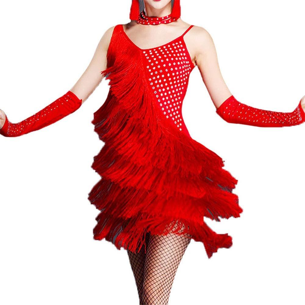 Rouge Medium Peggy Gu Robes de Danse pour Femmes Femmes sans Manches Gland Robe De Danse Latine Outfit Strass Frange Flapper Robe Sway Danse Robe De Cocktail Lady Salle De Bal Perforhommece Costume De Danse