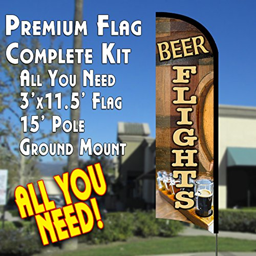 BEER FLIGHTS Premium Windless Feather Banner Flag Kit (Flag, Pole, & Ground Mt) Flight Poles