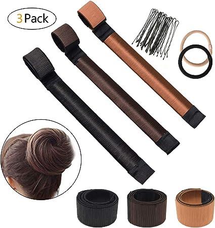 3 Pack Donut Hair Bun Maker Moño Maker, bofekt Moño Cinta Fashion Hair Styling Tool Mujer French Twist pelo panecillos Magic DIY Tool: Amazon.es: Belleza