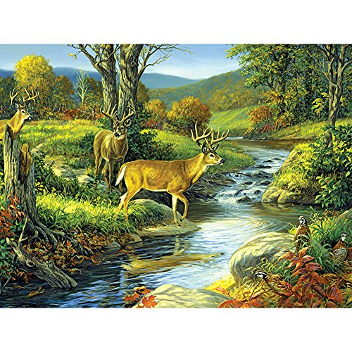 Bits and Pieces - 300 Large Piece Jigsaw Puzzle for Adults - Four of a Kind, Deer - by Artist Linda Picken - 300 pc Jigsaw