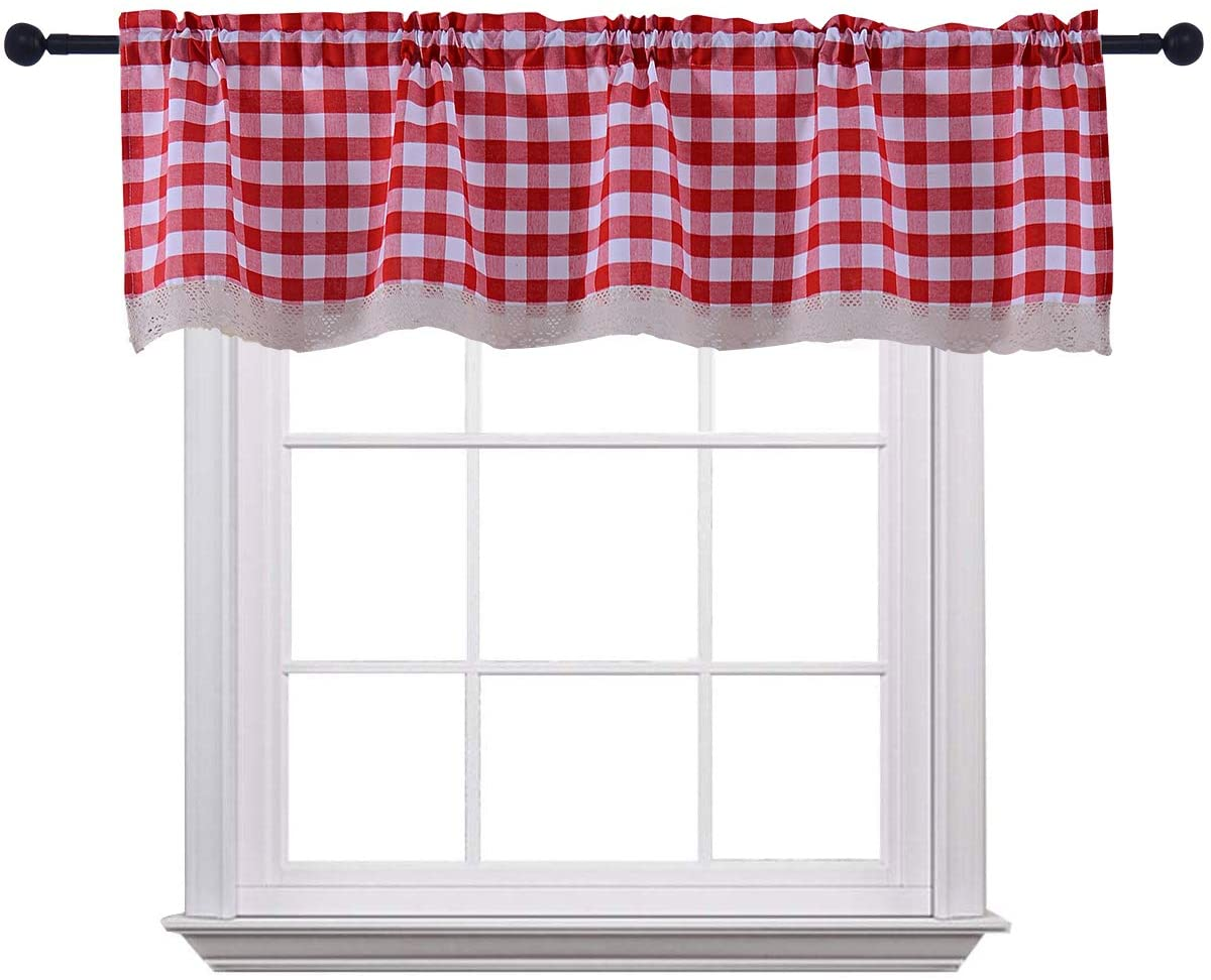 Amazon Com Curtain Valances For Windows Gingham Cotton Blend Window Curtains For Kitchen Living Dining Room 58 X 15 Inches Rod Pocket 1 Plaid Valance Red Furniture Decor