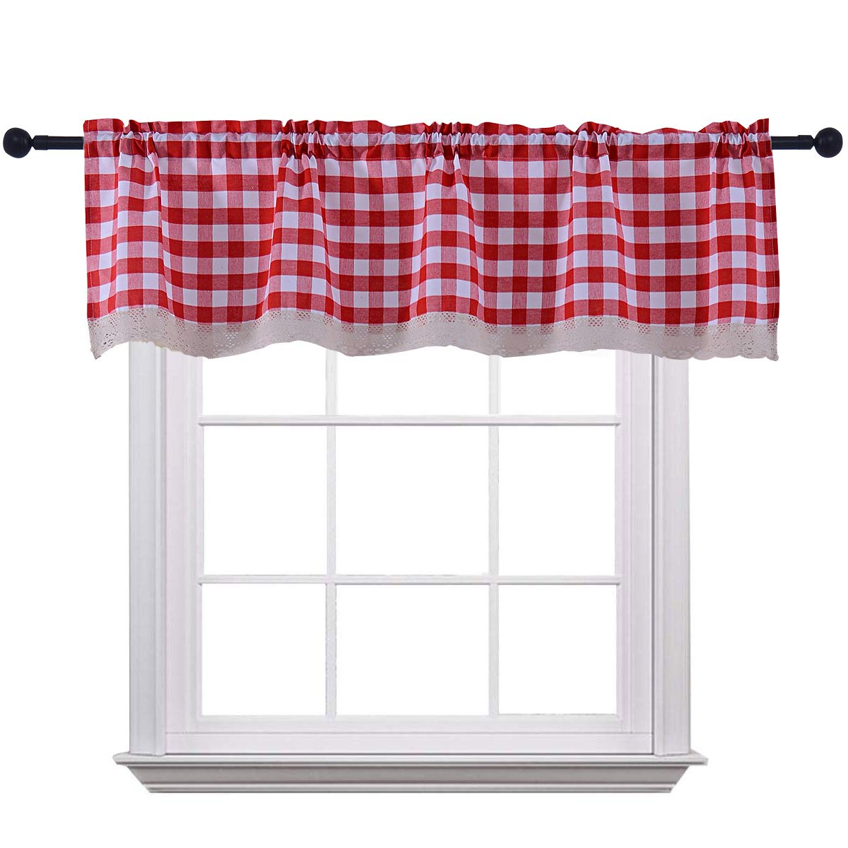 Curtain Valances for Windows Gingham Cotton Blend Window Curtains for Kitchen Living Dining Room 58 x 15 inches Rod Pocket 1 Plaid Valance Red