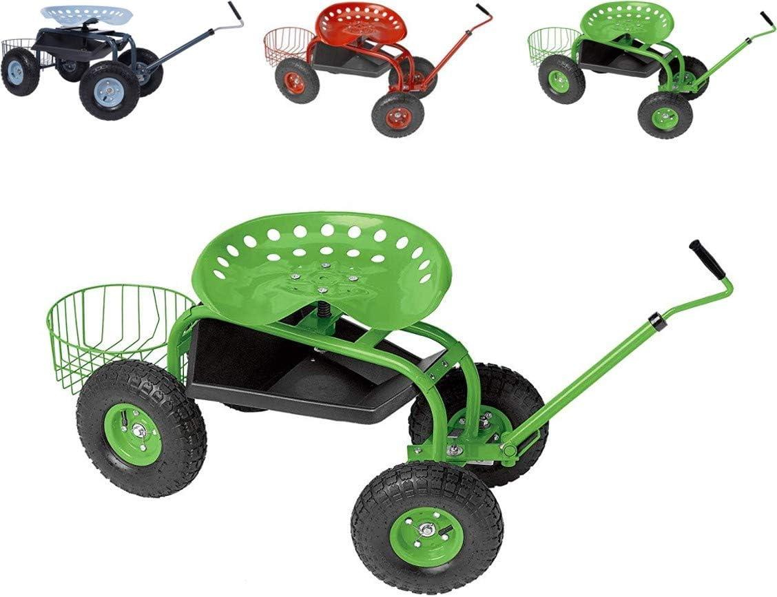 Papilioshop Gardy Carro Carrito Asiento de Trabajo con Ruedas para jardín (Verde)