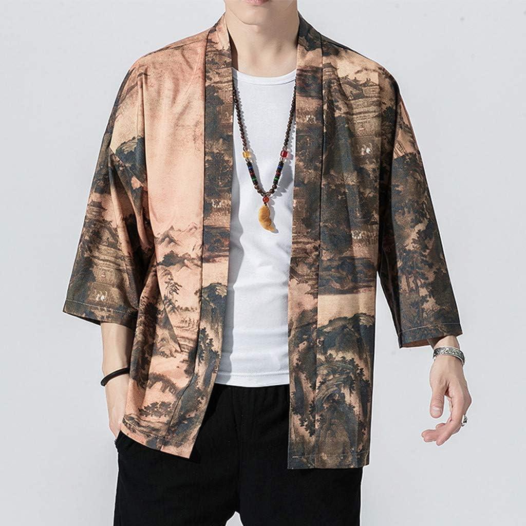 Mens Kimono Cardigan Casual 3//4 Sleeve Loose Jacket Yukata Open Front Coat Fashion Japanese Robes
