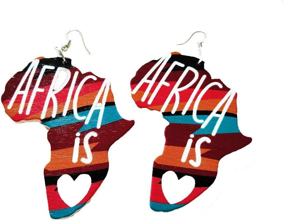 6Pcs DIY Wooden Earrings,African girl wood earring,fashion African Jewelry,Flat Round Wooden Earrings,Big Earrings,Ethnic Jewelry-60mm-FF284