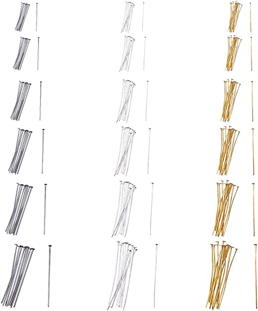 PandaHall Elite 1740 Pcs 6 Size 3 Color Iron Headpins Jewelry Making Findings 40mm, 35mm, 28mm, 22mm, 20mm, 16mm