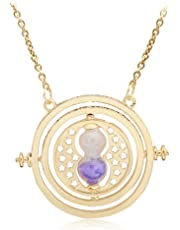 Jeerui Necklace Vintage Time Turner Rotating Necklace Hourglass Pendant Chain Jewelry Gift for Women and Girls