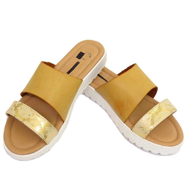 Damen-Tan zum Reinschlüpfen Pantolette offene Zehen Slider Strand Bequeme Schuhe Sommer Sandalen Größen 4-7 - Hellbraun, 38