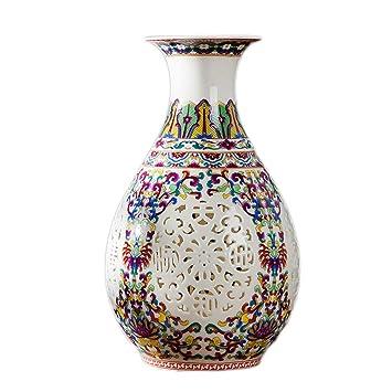 Vasen AMINSHAP Keramikvase Blau Und Weiß Porzellan Hohl Pastell Wohnzimmer  Dekoration Moderne Chinesische Blumenanordnung Dekorative Porzellanvase