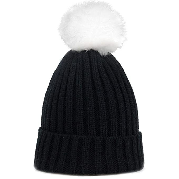 New Baby boy Girl Cotton Knit Hats with Artificial Fur pom-pom Soft ... 8d3596caf
