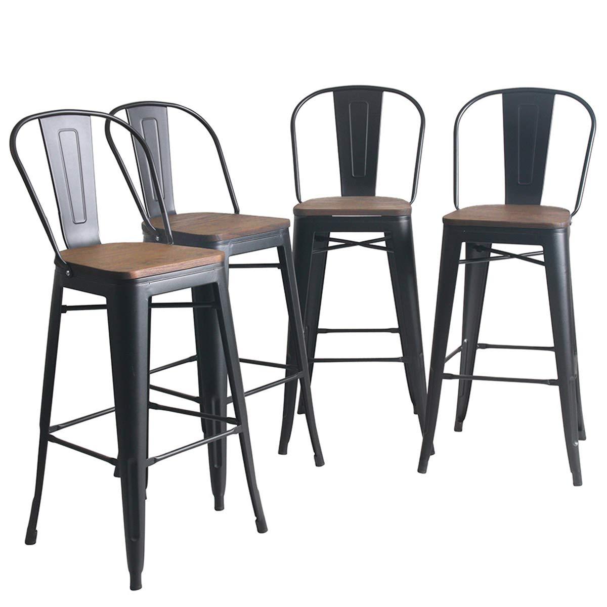 YongQiang Metal Bar Stools Set of 4 High Back Wooden Seat Industrial Indoor Outdoor Bar Chairs 30'' Matte Black by YongQiang