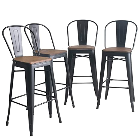 Remarkable Yongqiang Metal Bar Stools Set Of 4 High Back Wooden Seat Industrial Indoor Outdoor Bar Chairs 30 Matte Black Machost Co Dining Chair Design Ideas Machostcouk
