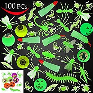 Joyin Toy 100 Pieces Halloween Glow in the Dark Bugs and Toys Glow Bugs, Plastic Bugs, Glow Bug Rings , Glow Bouncy Balls and Witch Fingers for Halloween Party Favors and Decorations