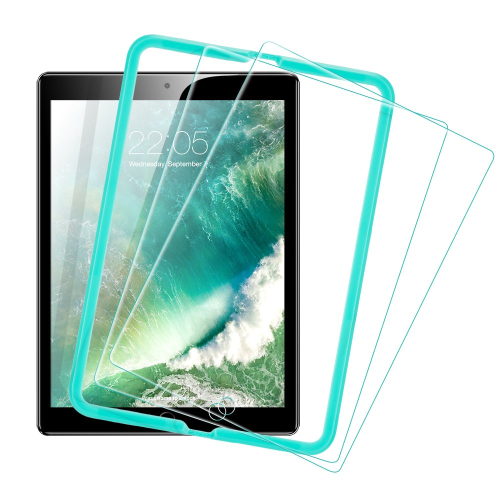 [2 Pack] ESR iPad 2018 Screen Protector/The New iPad Screen Protector, [Easy Installation Frame], Tempered Glass for iPad 2018/2017/iPad Air 2/iPad Air/iPad Pro 9.7/A1822 by ESR (Image #1)