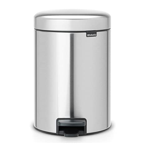 Brabantia Newicon-Cubo de Basura con Pedal, 3 l, Color Acero Mate Fpp Anti-Huellas, Inoxidable