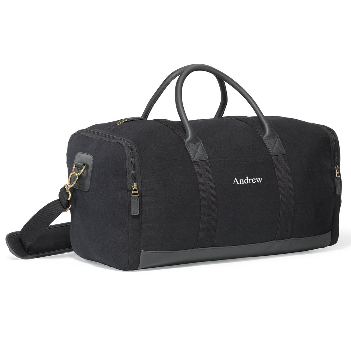 0043549852 Personalized Black Canvas Duffle Bag - Embroidered Canvas Gym Bag   Amazon.in  Bags
