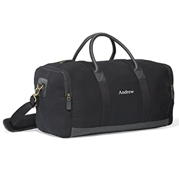 Personalized Black Canvas Duffle Bag